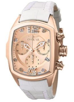 Invicta Women's 6826 Lupah Revolution Collection Chronograph Diamond Accented White Leather Watch
