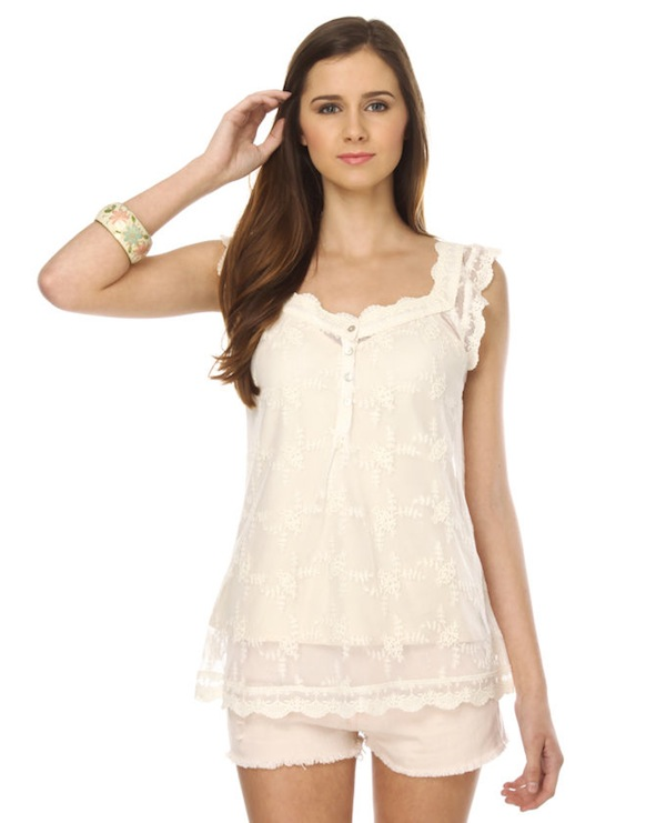BB Dakota by Jack Chelsea Ivory Lace Top
