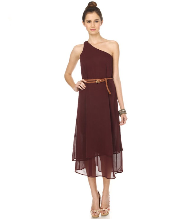 Trail Mix One Shoulder Maroon Dress