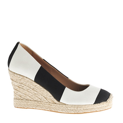 JCrew striped espadrille wedge