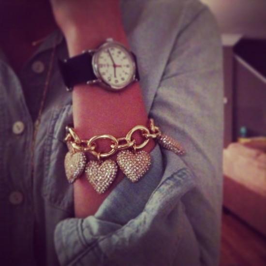 JCrew Pave Heart Bracelet