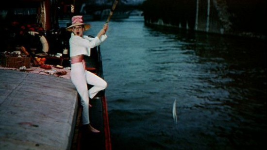 funny-face-audrey-hepburn-pink-hat-capri-pants-fishing-50s-vintage-clothing